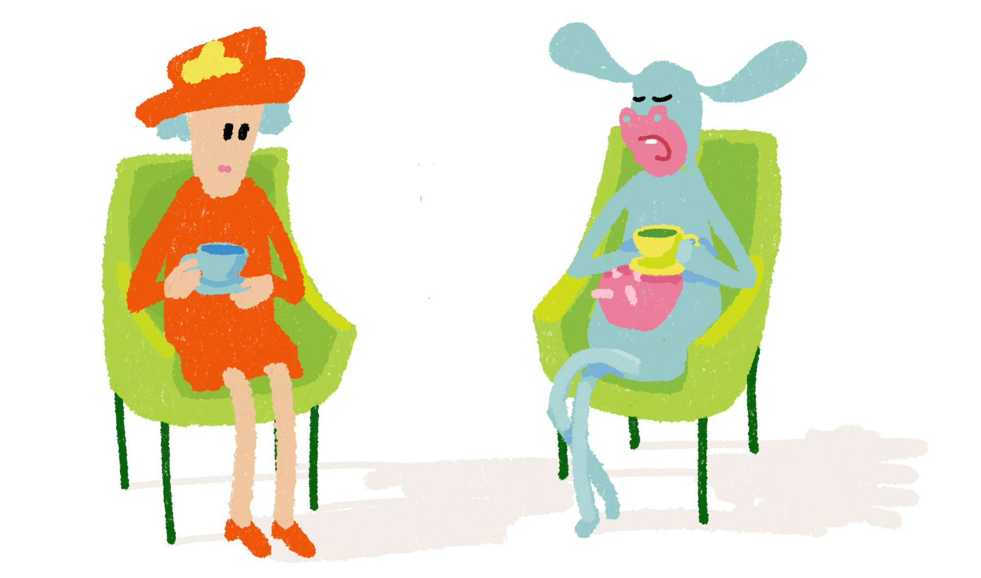 Queen and cow talking over tea